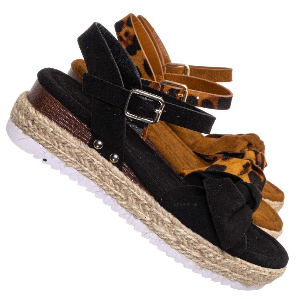 Black F-Suede / Sensational32K Girls Espadrille Flatform Sandal - Children Thread White Platform