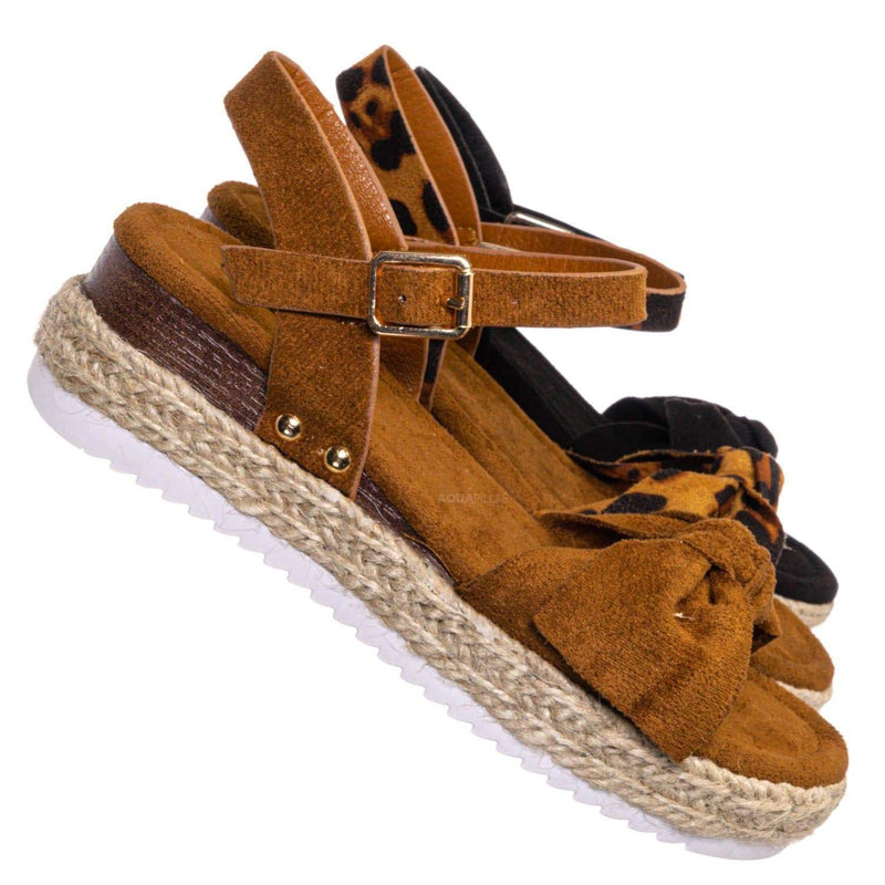 Tan Brown / Sensational32K Girls Espadrille Flatform Sandal - Children Thread White Platform