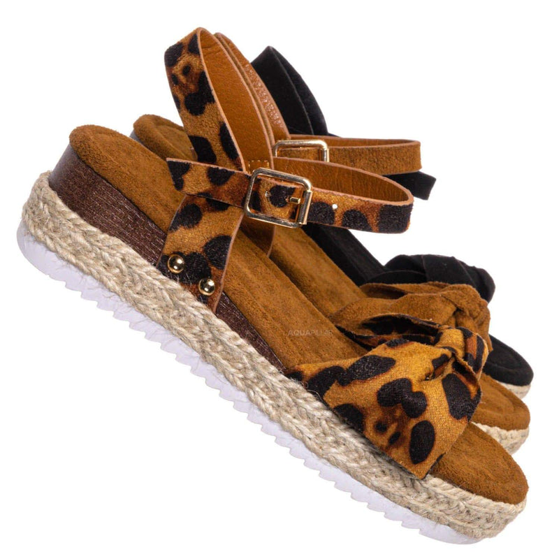 Leopard F-Suede / Sensational32K Girls Espadrille Flatform Sandal - Children Thread White Platform
