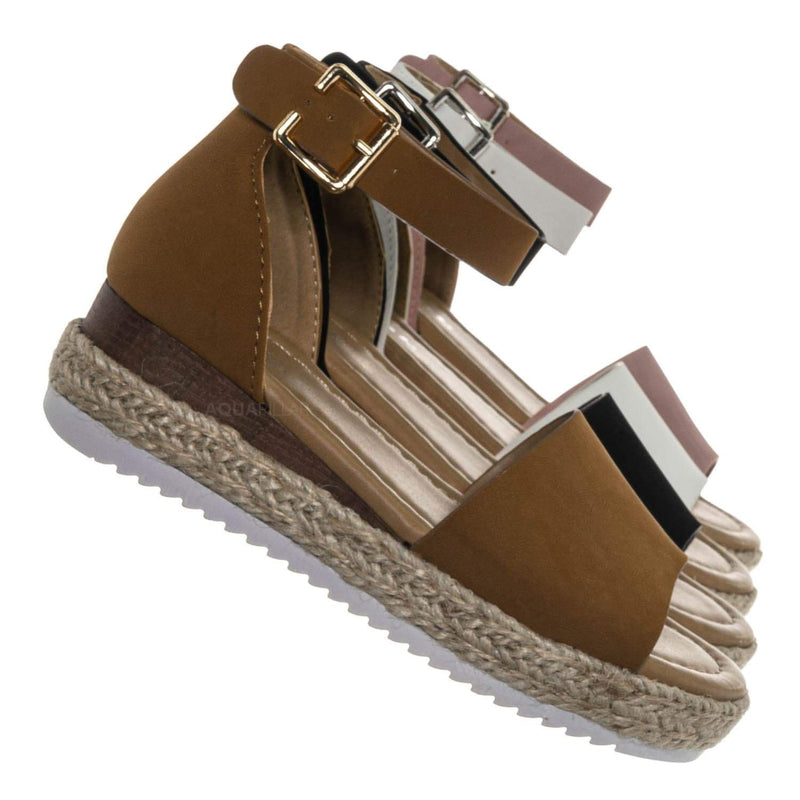 Tan Brown / Sensational6k Kids Jute Braid Espadrille Flatform - Girls Ankle Strap Sandal