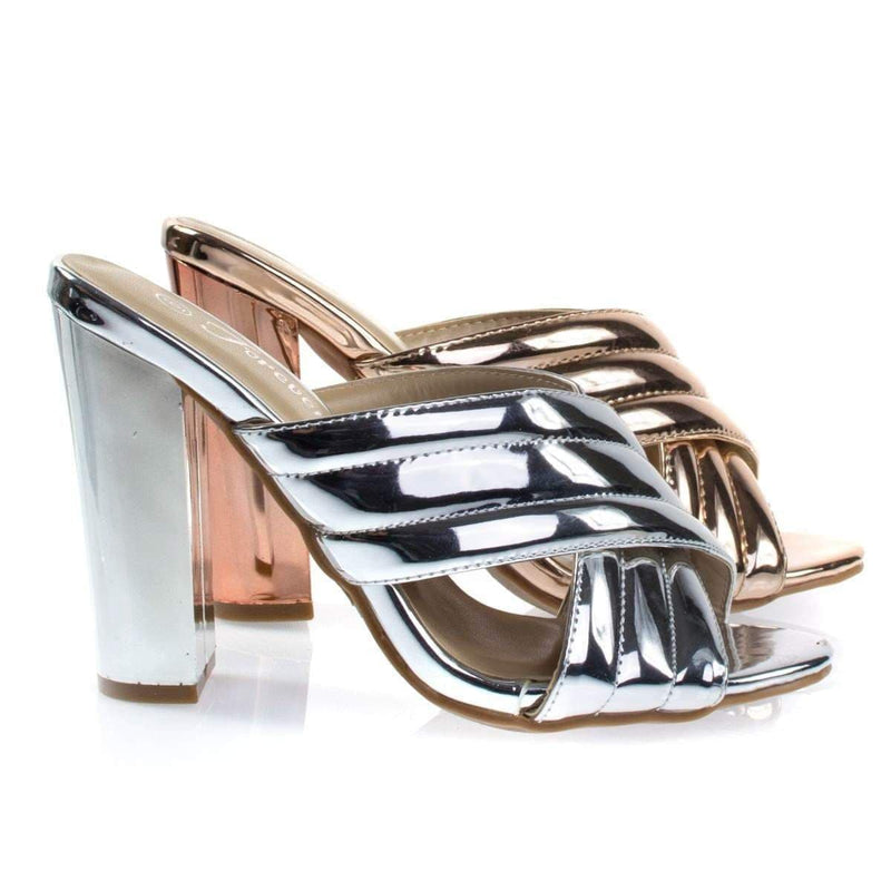 Shine91 Chunky Block Heel Slipper Mule, Metallic Party Sandal w Padded Strap