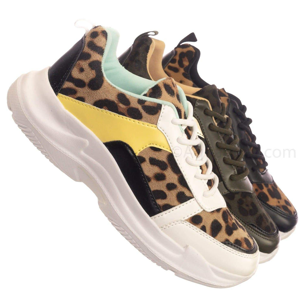 White Leopard / Symbol37 WhtLeo Lightweight Daddy Chunky Sneaker - Women's Fashioned Paneled Flats