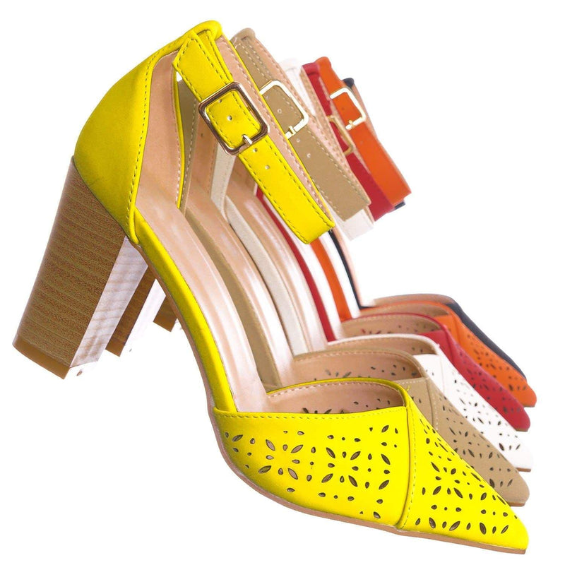 Yellow Pu / Topper30 Yellow Block Heel Pointed Toe Pump - Women d'Orsay Ankle Strap Cutout