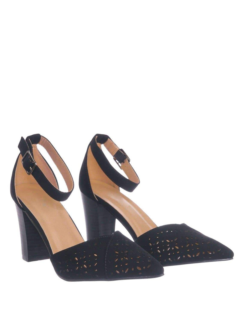 Black Pu / Topper30 Black Block Heel Pointed Toe Pump - Women d'Orsay Ankle Strap Cutout