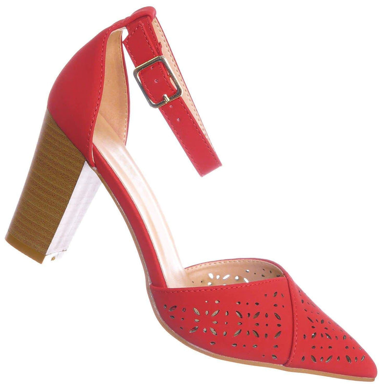 Red Pu / Topper30 Red Block Heel Pointed Toe Pump - Women d'Orsay Ankle Strap Cutout
