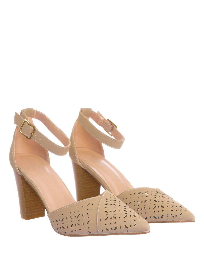 Taupe Gray / Topper30 Taupe Block Heel Pointed Toe Pump - Women d'Orsay Ankle Strap Cutout