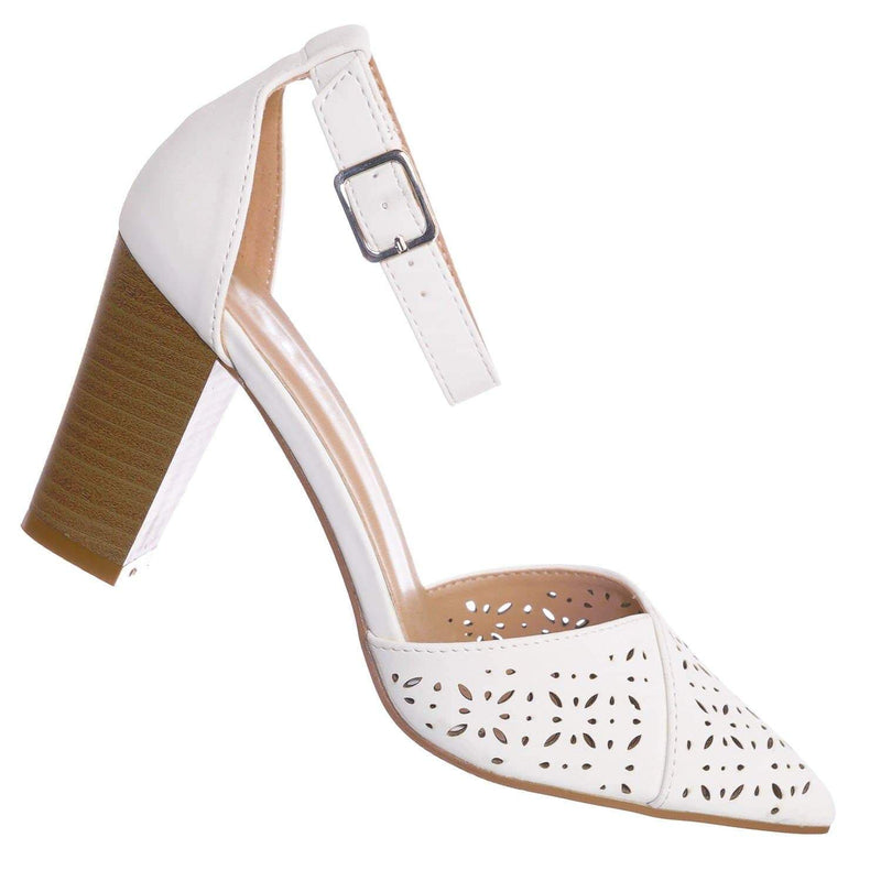 White Pu / Topper30 White Block Heel Pointed Toe Pump - Women d'Orsay Ankle Strap Cutout
