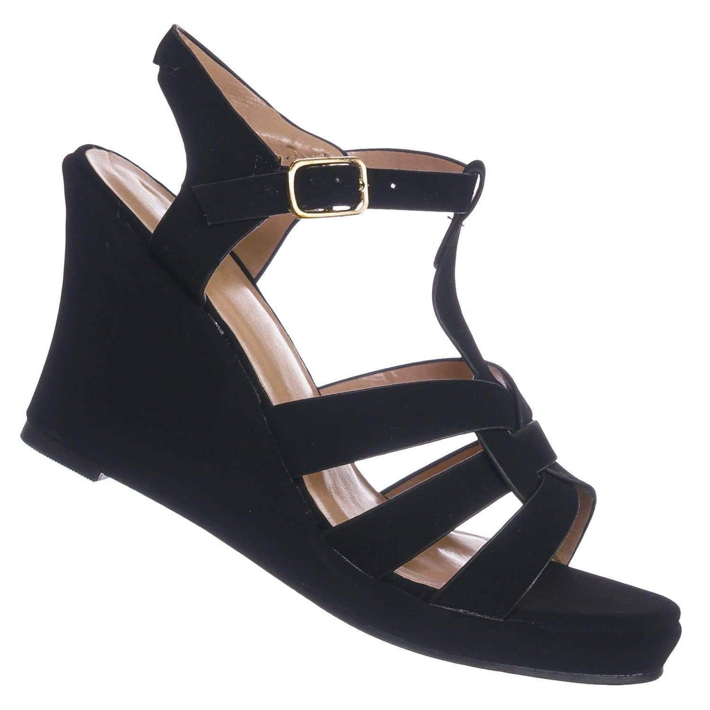 Black Nubuck / Tuna37 BlackNub Woven T-Strap Wedge Sandal - Women Open Toe Gladiator Cage Strap