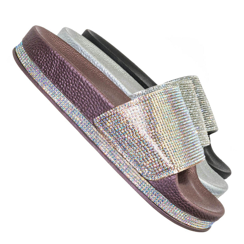 Rose Gold / Vision07 Rhinestone Jewel Slide - PVC Molded Footbed Flatform Sandal Slippers