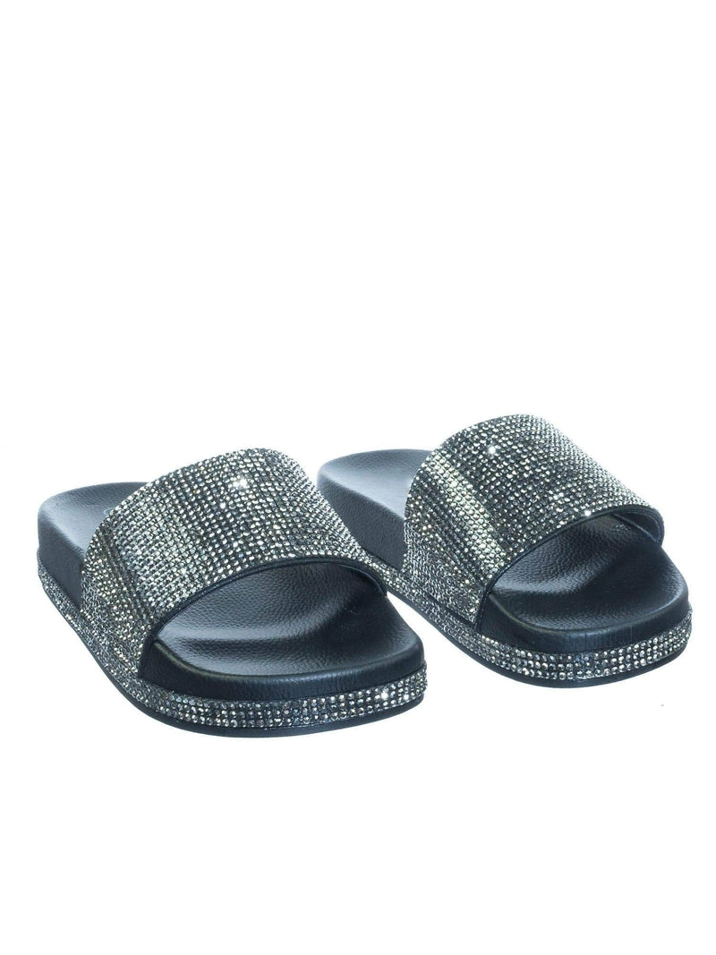 Viste07 Black Rhinestone Slide In PVC Molded Footbed Flatform Sandal Slippers