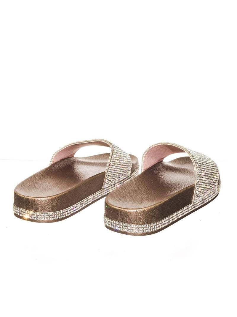 Viste07 RoseGold Rhinestone Slide In PVC Molded Footbed Flatform Sandal Slippers