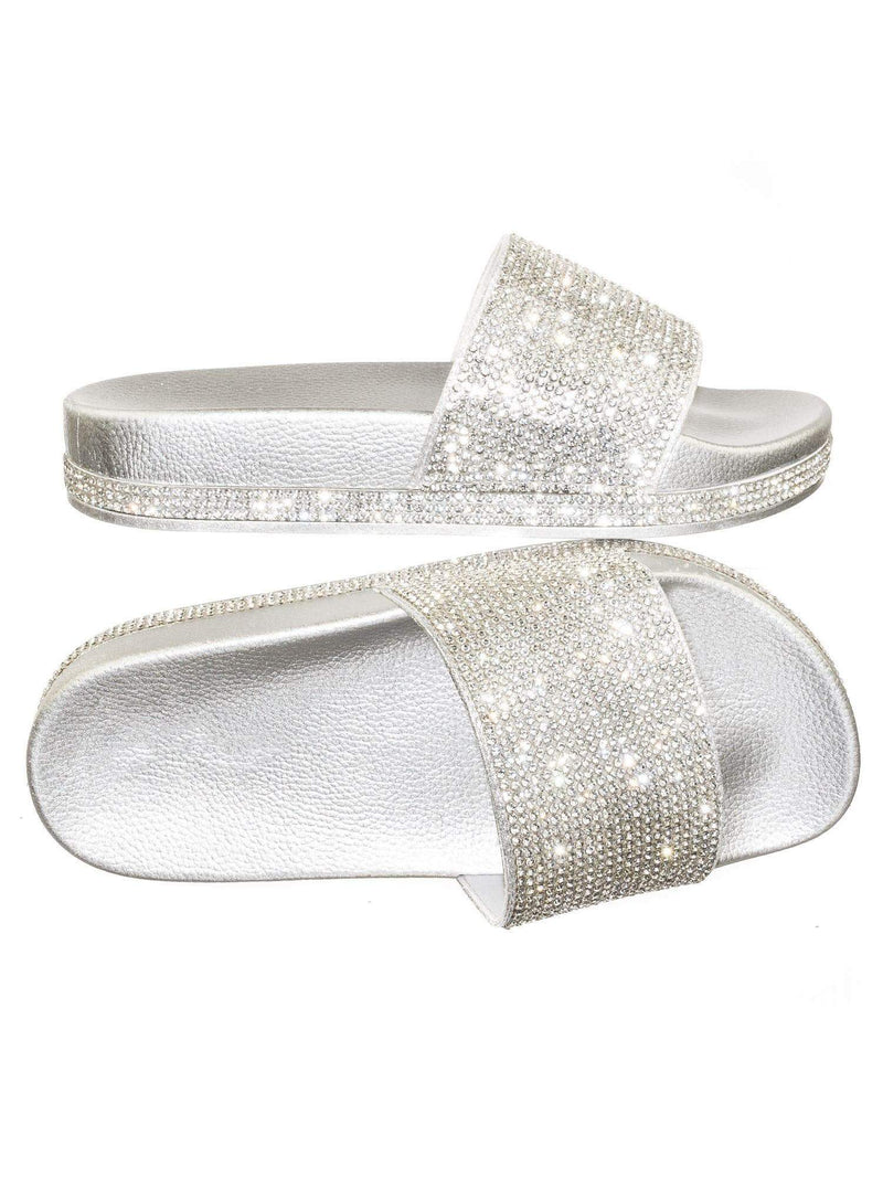 Viste07 Silver Rhinestone Slide In PVC Molded Footbed Flatform Sandal Slippers