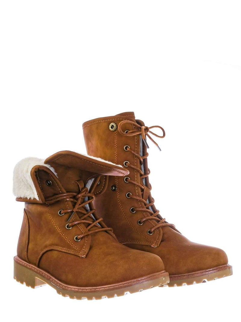 Tan Brown / Whitney23 Foldable Lace Up Boot - Faux Fur Shearling Lining Collar Fold Overs