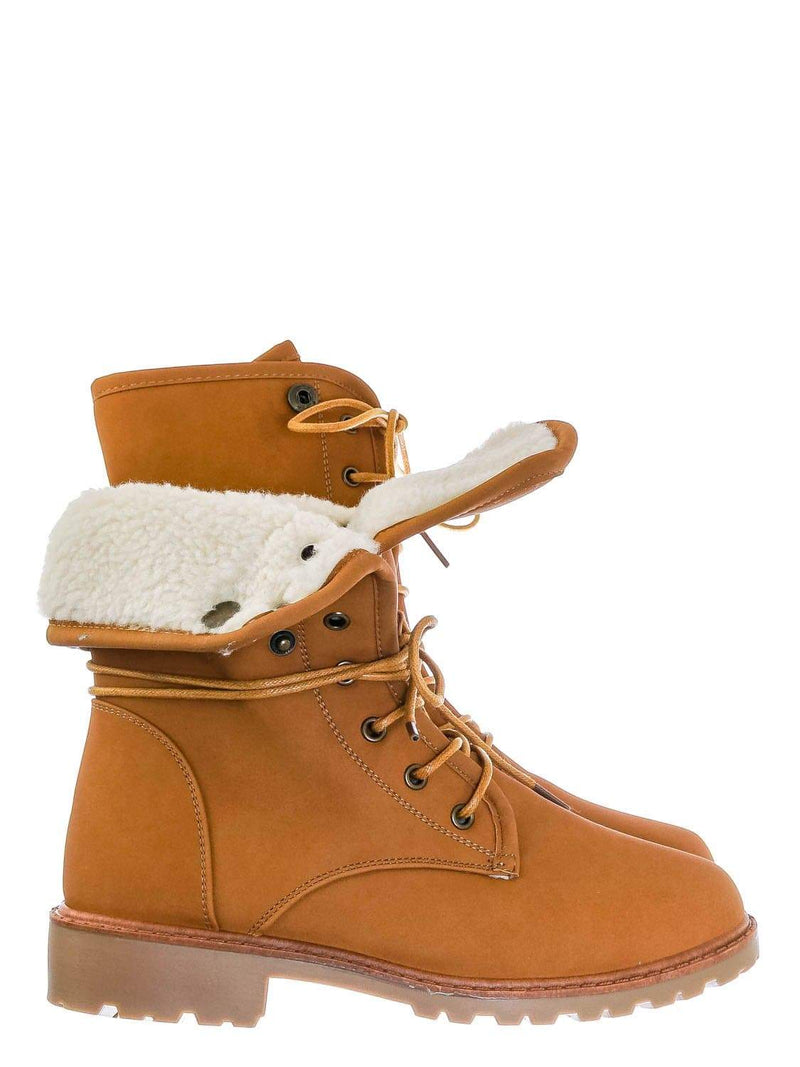 Camel Yellow / Whitney23 Foldable Lace Up Boot - Faux Fur Shearling Lining Collar Fold Overs