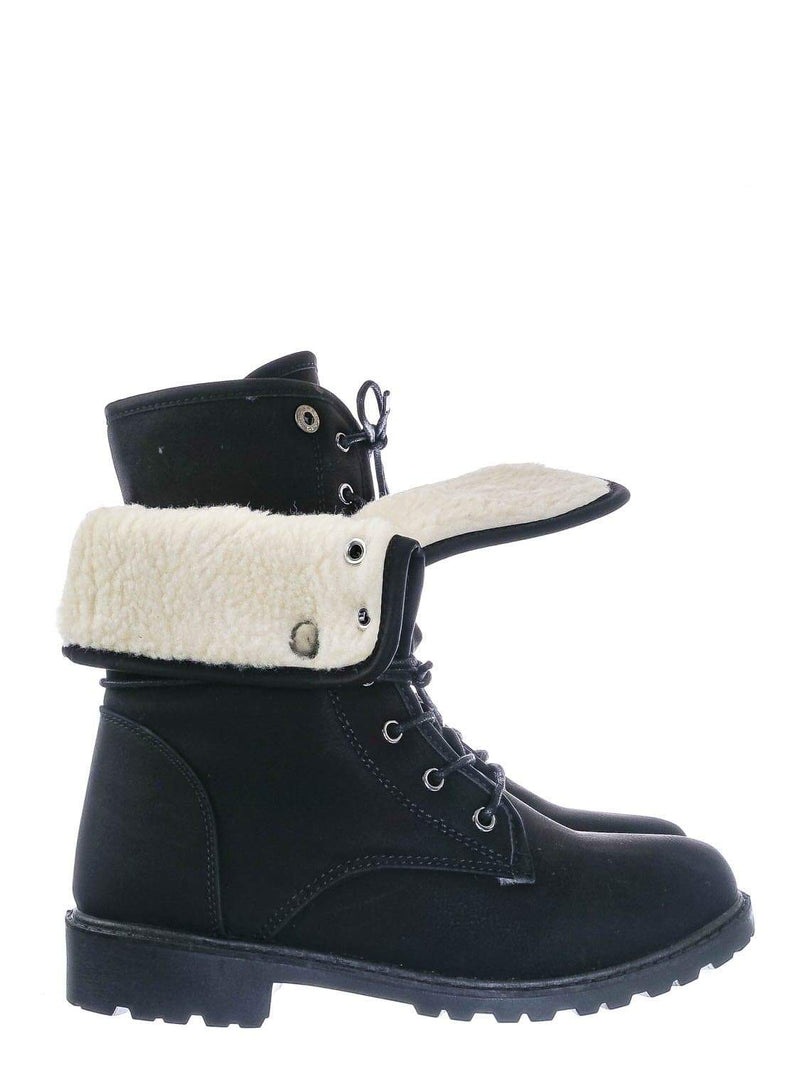 Black  / Whitney23 Foldable Lace Up Boot - Faux Fur Shearling Lining Collar Fold Overs