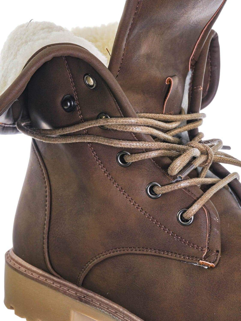 Brown / Whitney23 Foldable Lace Up Boot - Faux Fur Shearling Lining Collar Fold Overs