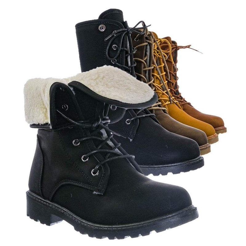 Whitney23 Foldable Lace Up Boot - Faux Fur Shearling Lining Collar Fold Overs