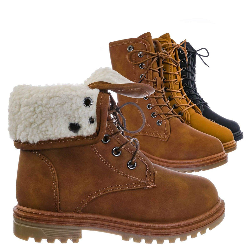 Tan Brown / Whitney23K Girl Fold Lace Up Boot - Kid Faux Fur Shearling Lined Folded Collar