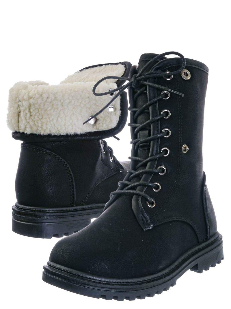 Black / Whitney23K Girl Fold Lace Up Boot - Kid Faux Fur Shearling Lined Folded Collar