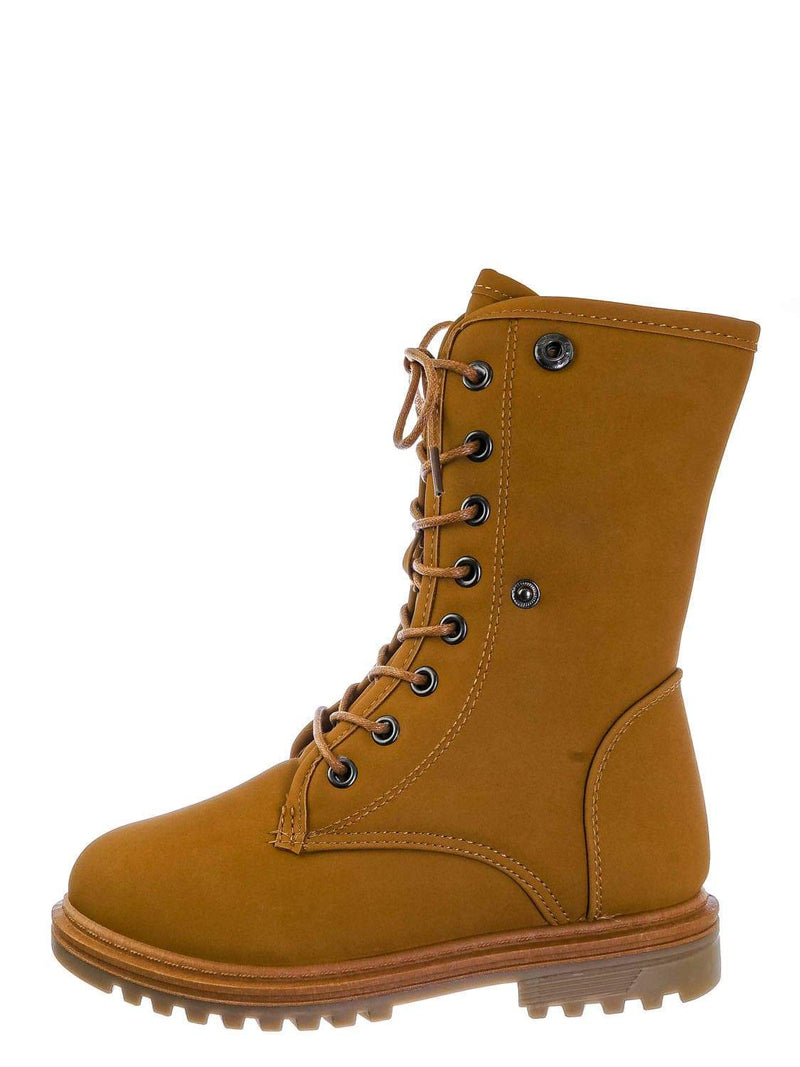 Camel Yellow / Whitney23K Girl Fold Lace Up Boot - Kid Faux Fur Shearling Lined Folded Collar