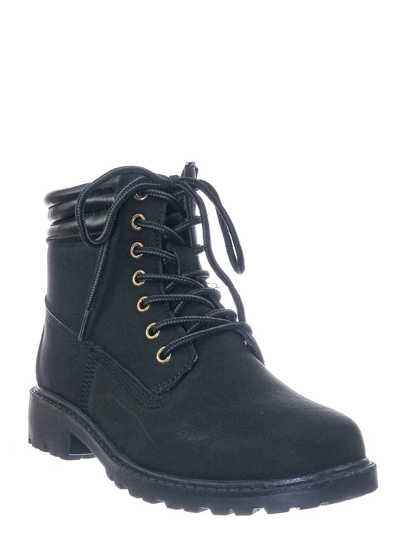 Black Nubuck / Whitney25 Lightweight Fashion Work Boots - Lug Sole Welted Grunge Ankle Bootie