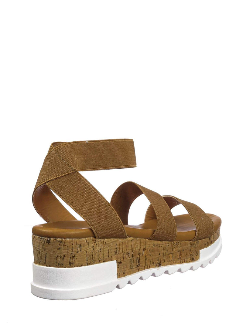 Tan Brown / Wish79 Tan Brown Bohemian Elastic Footbed Flatform - Women Cork Lug Sole Strappy Sandal
