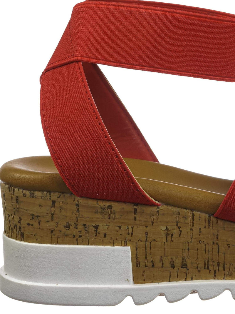 Red Pu / Wish79 Red Pu Bohemian Elastic Footbed Flatform - Women Cork Lug Sole Strappy Sandal