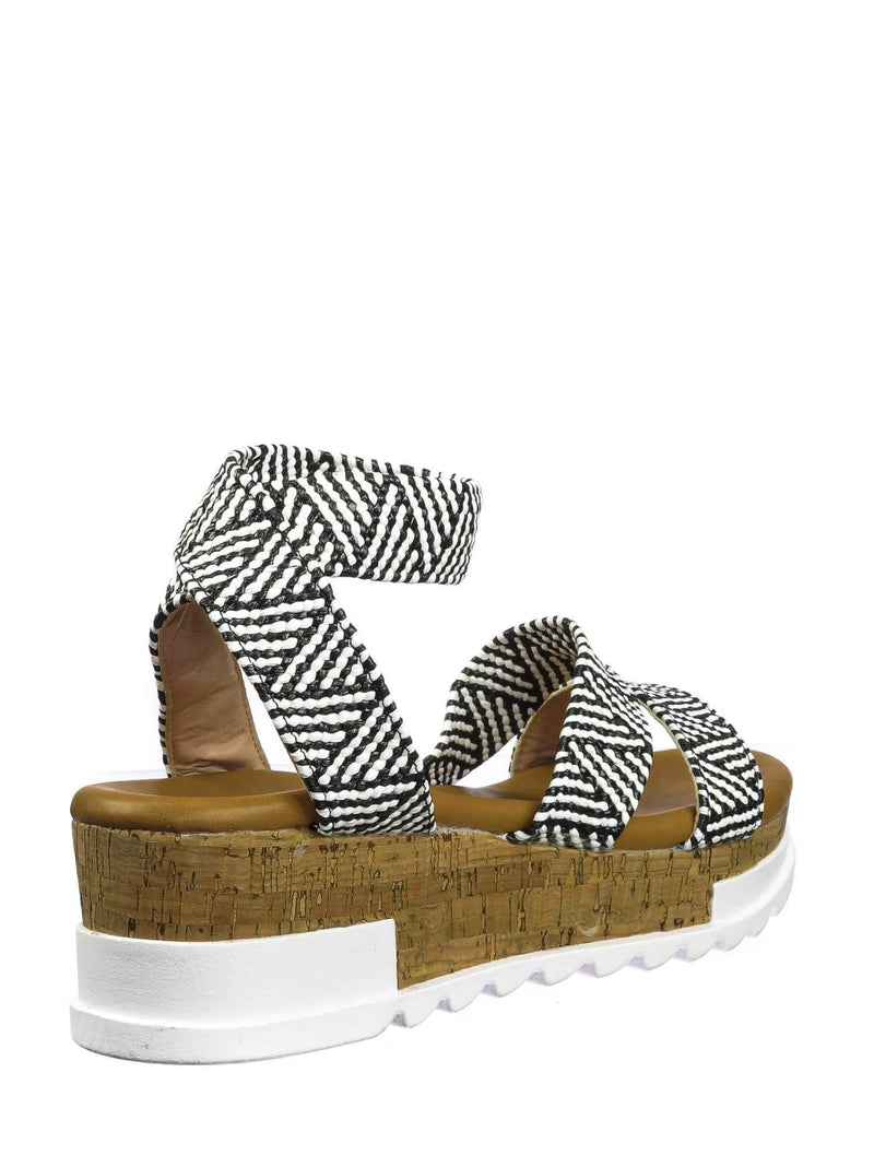 Black White / Wish79 Black White Bohemian Elastic Footbed Flatform - Women Cork Lug Sole Strappy Sandal