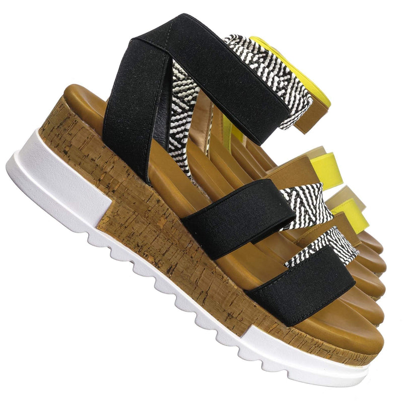 Black Pu / Wish79 Black Pu Bohemian Elastic Footbed Flatform - Women Cork Lug Sole Strappy Sandal