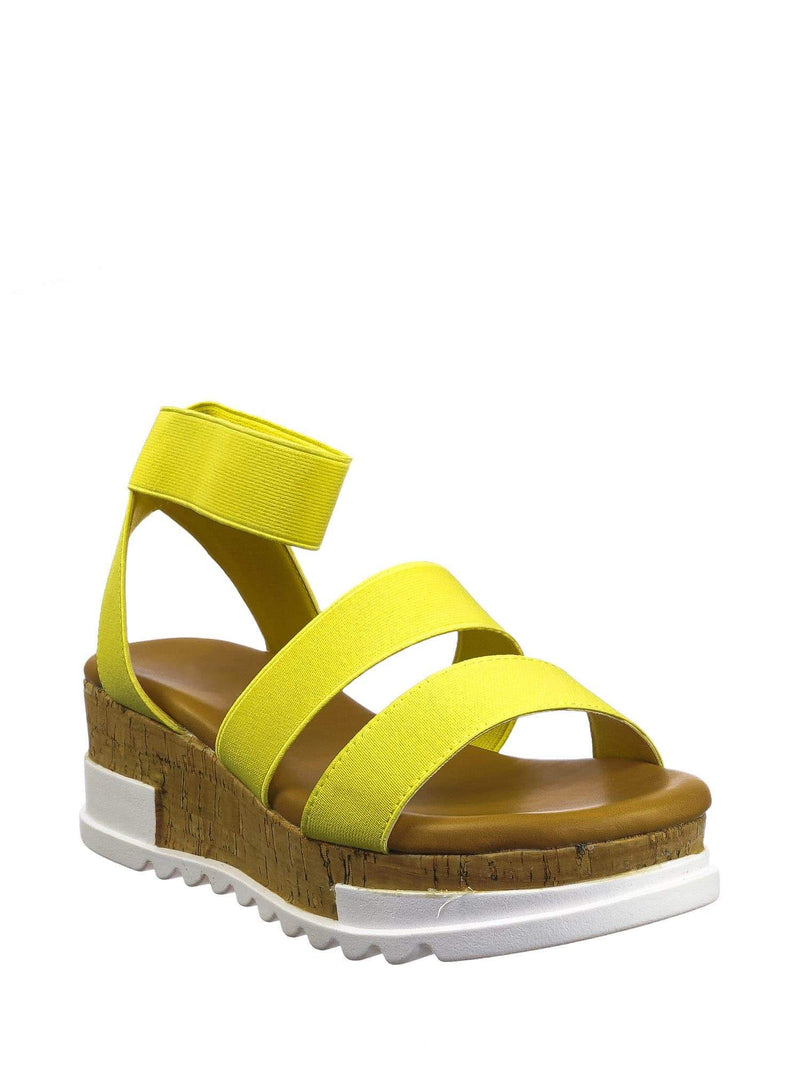 Yellow Pu / Wish79 Yellow Pu Bohemian Elastic Footbed Flatform - Women Cork Lug Sole Strappy Sandal