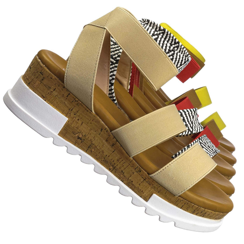 Wish79 Bohemian Elastic Footbed Flatform - Women Cork Lug Sole Strappy Sandal
