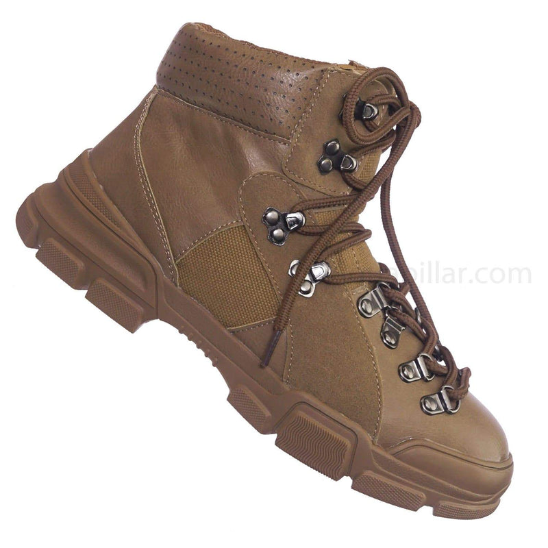 Taupe Beige / Wolf5 Taupe High Top Sneaker Ankle Bootie - Unisex High Top Paneled Lace Up Boots
