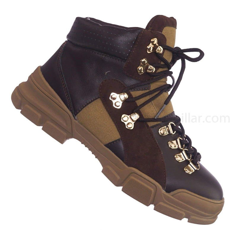 Brown Pu / Wolf5 Brown High Top Sneaker Ankle Bootie - Unisex High Top Paneled Lace Up Boots