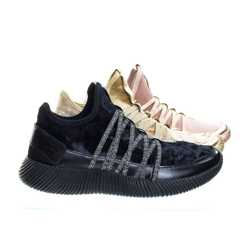 Yes4 Athletic Velvet Elastic Lacer Fashion Sneaker w Hook & Loop Closure