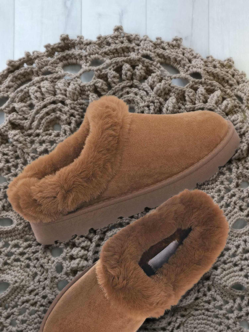 Frozen31 Faux Fur Moccasin Slipper - Winter Fluffy Cozy Bootie