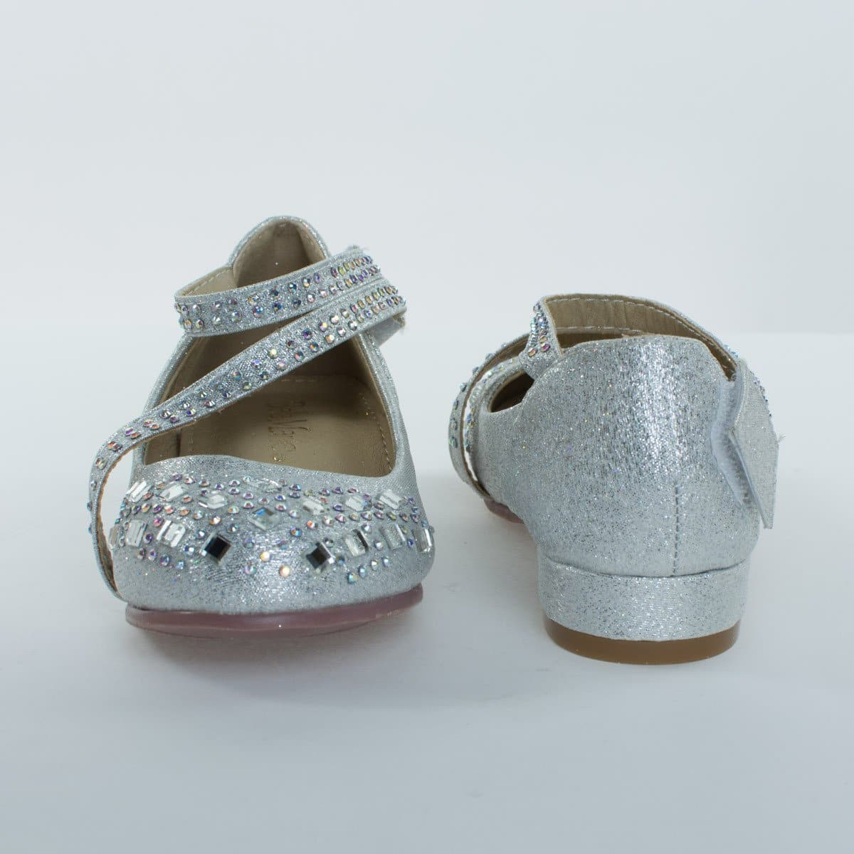 Kate8K By Bella Marie, Girl's Glitter & Rhinestone Stud, Round Toe Pump w 2 Straps, Children Kid