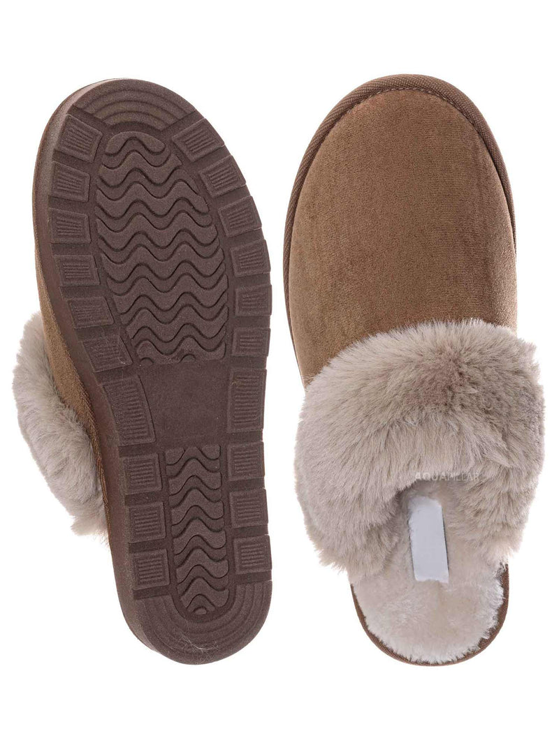 Tan Brown / Snuggle01 Winter Cozy House Slipper - Vegan Friendly Faux Fur Slip On Mule