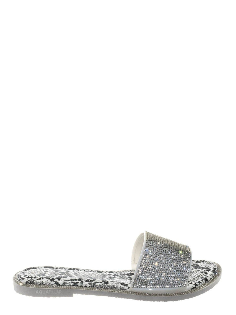 Clear Multi / Share01 Jelly Rhinestone Crystal Slipper - Animal Print Clear Lucite Sandal