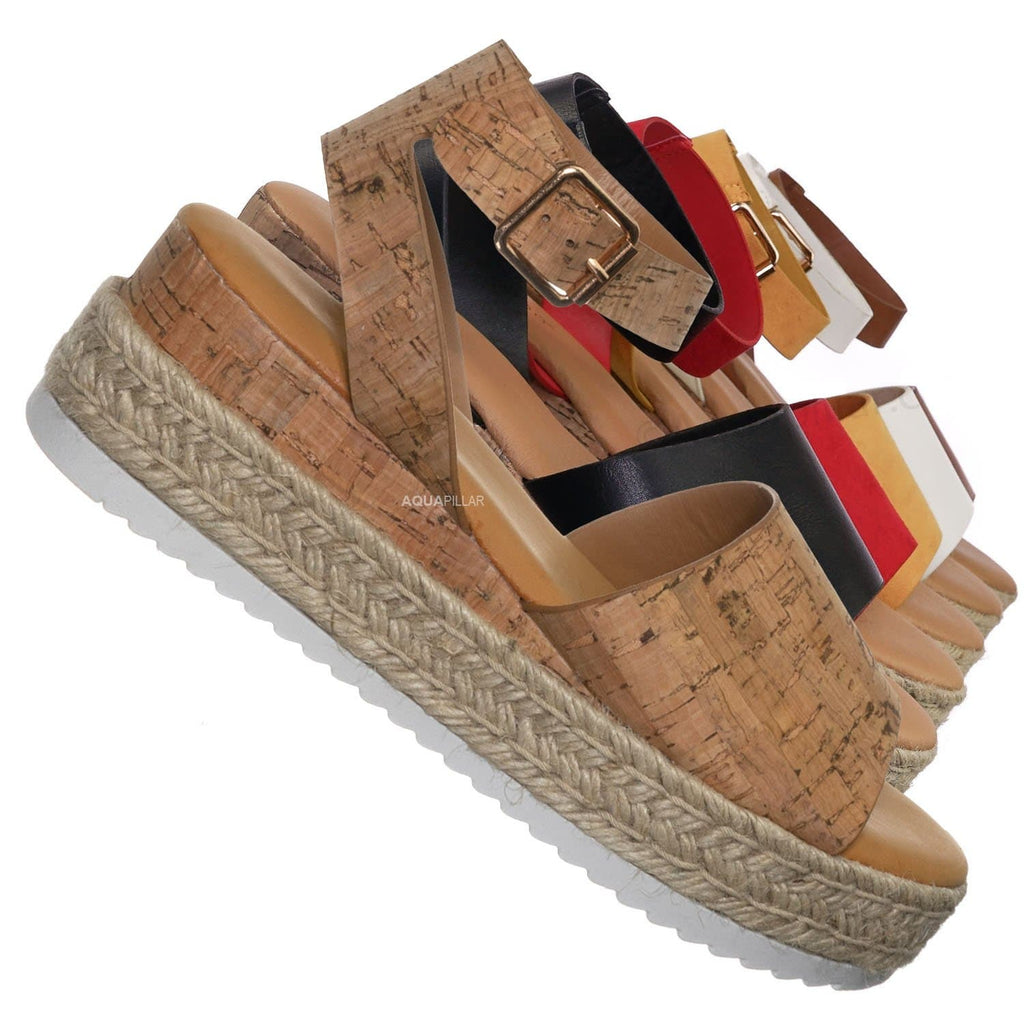 Natural Cork / Leading Espadrille Wedge Flatform Sandal -Women Open Toe Flat Platform Jute Wrap