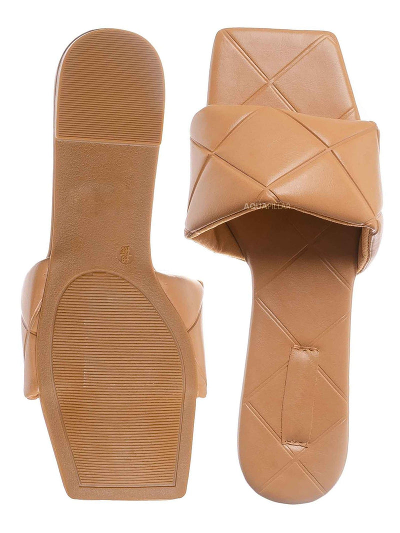 Natural Tan / Block22 Quilted Flat Slipper Sandal - Womens Open Square Toe Slides