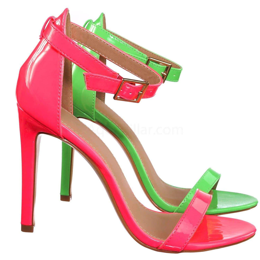 Pink Pu / Charlie1 NeonPnk Retro Neon High Heel Dress Sandal - Women Open Toe Evening Party Shoes