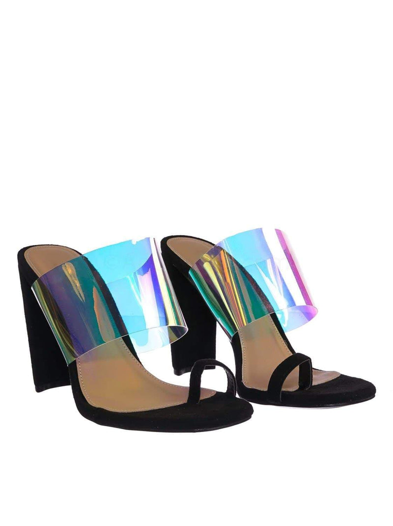 Black Pu / Clear1 Black Clear Iridescent Block Heel Sandal - Women Lucite Transparent Slide Mule