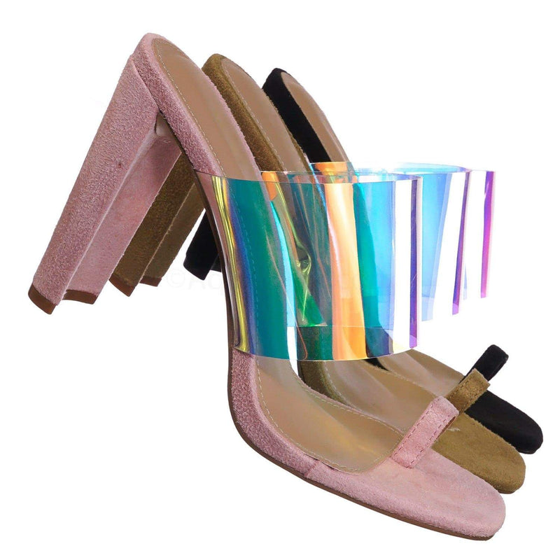 Blush Beige Pink / Clear1 Blush Clear Iridescent Block Heel Sandal - Women Lucite Transparent Slide Mule