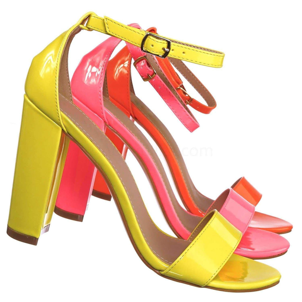 Neon Yellow / Lily1 NeonYlw 60s Retro Neon Block Heel Sandal - Women's Open Toe Evening Dance Shoes