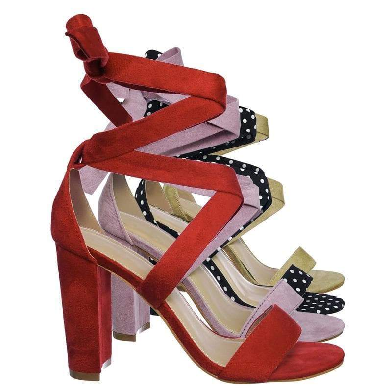 Lily11 Red Lace Up High Block Heel Leg Wrap Strappy Dress Sandal
