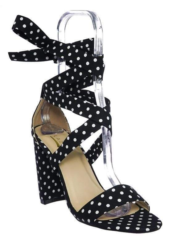 Lily11 DotPrint Lace Up High Block Heel Leg Wrap Strappy Dress Sandal