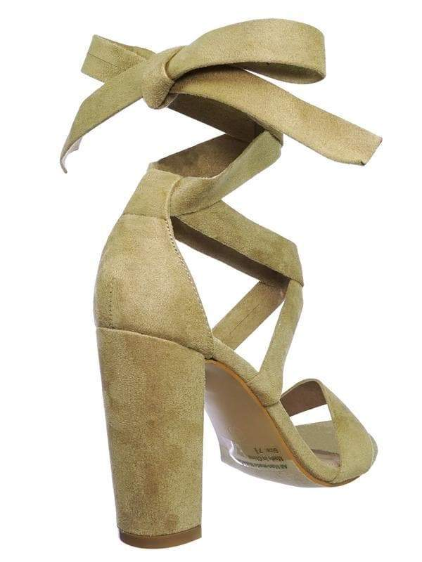Lily11 Nude Lace Up High Block Heel Leg Wrap Strappy Dress Sandal