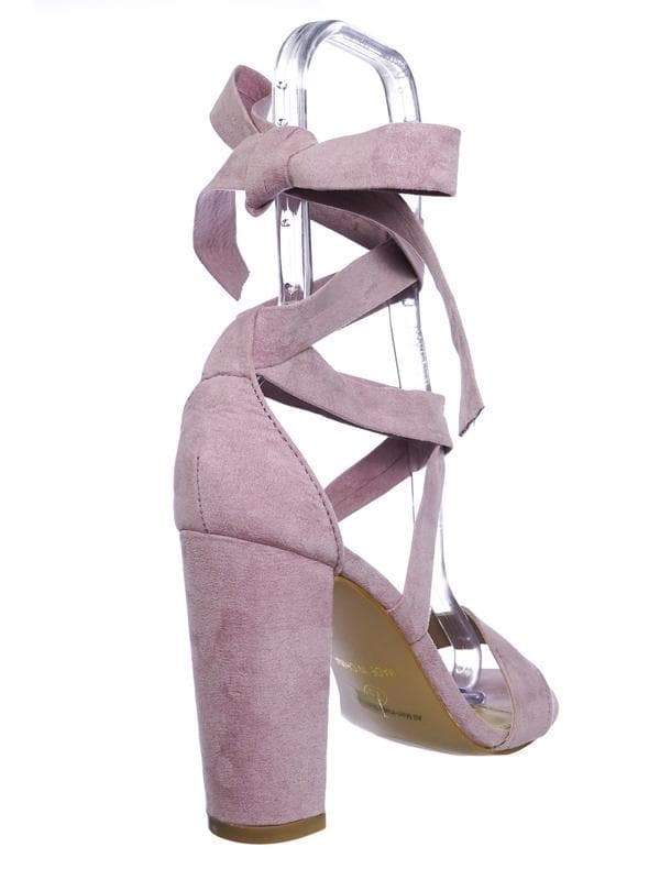 Lily11 Lilac Lace Up High Block Heel Leg Wrap Strappy Dress Sandal