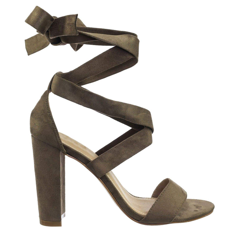 Lily11 Taupe Lace Up High Block Heel Leg Wrap Strappy Dress Sandal