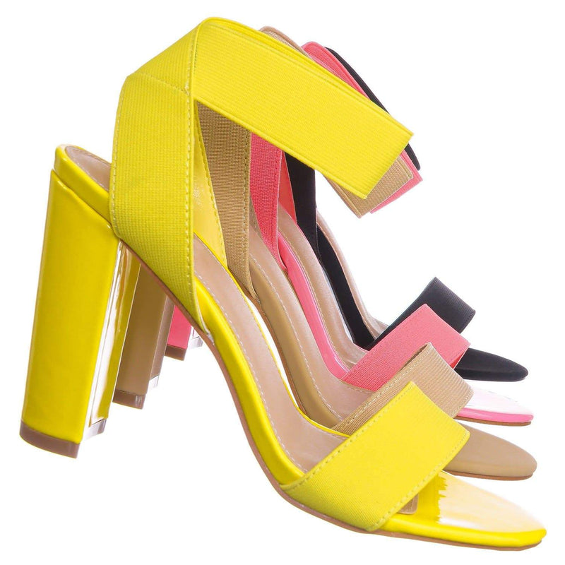 Neon Yellow / Lily34 NYlw Elastic Chunky Block High Heel Sandal - Women Open Toe Dress Shoe